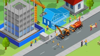 Builders work at construction site video animation footage