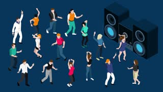 Dancing people with stereo system video animation footage