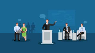 Business conference animation footage