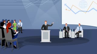 Business conference scene animation footage