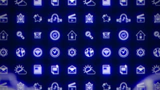 Business splash screen background of moving away mobile applications glowing blue neon with social media network technology cloud icons available in 4k UHD FullHD and HD video animation footage loop