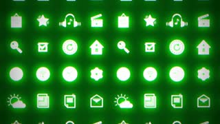 Business splash screen background of moving mobile applications glowing green neon with social media network technology cloud services icons in 4k UHD FullHD and HD video animation footage loop