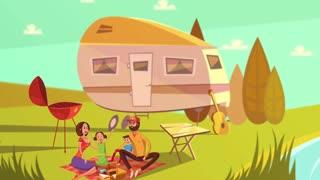 Cartoon family picnic video animation footage