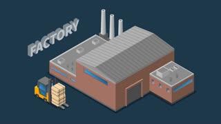 Factory work process isometric flowchart footage
