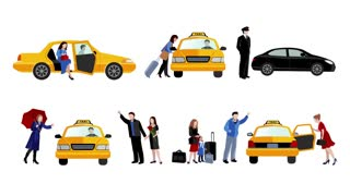 Taxi service animation footage