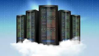 Computer cloud server animation footage