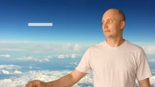 A man estimates the 5 stars service. Against the background of the blue sky and clouds. Conceptual clip by rating service. Tourism services, cafes, restaurants, trade, banking, business services.