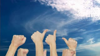 Crowd group simultaneously raising thumb up on blue sky background