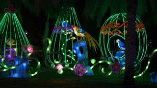 Dubai, UAE - January 13, 2018: glowing figures exotic birds in cages and on branches trees in fairytale forest with beautiful colorful illumination in night garden Glow park in Dubai city UAE.