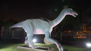 Dubai, UAE - January 13, 2018: realistic figure predatory Deinonychus dinosaur