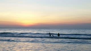 Family swim in ocean or sea. Sea scenery golden sunrise over horison. Swimer in water. Dark waves go to sandy beach. Sound. Ocean horizon beautiful background sea scene. Ocean waves morning sunrise