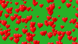 Horizontal motion of red hearts at green background. Motion graphic. Seamless loop. Track to right. Alpha channel transparent background.