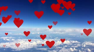 Red hearts rising up on background blue sky with white clouds animation card Seamless loop.