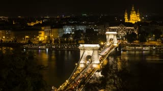 Szechenyi Bridge in Budapest Hungary. Beautiful bridge over the Danube. Best bridge in Budapest. Night aerial view bridge Danube river Budapest. Famous place Europe. Golden lights evening beautiful.