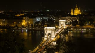Szechenyi Bridge in Budapest Hungary. Beautiful bridge over the Danube. Best bridge in Budapest. Night view golden light Szechenyi Bridge Budapest motion graphics. Graphic Content night sky particles