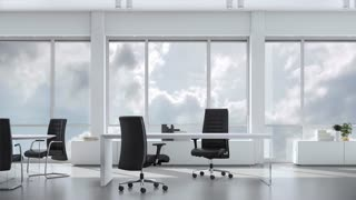 View from window in business office in skyskraper on cloudy sky. Background plate, chroma key video background.