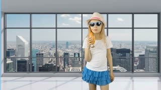 Young girl walks in empty office and drinks orange juice. Behind panoramic windows can see cityscape and skyscrapers. Girl quenches her thirst with an orange cocktail. Good health.