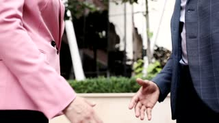 Close up view of Handshake of Businessman and Businesswoman. Official Meeting of two Business Partners. Classical Suits. Collegues. Successful Lifestyle. Stylishly Dressed.
