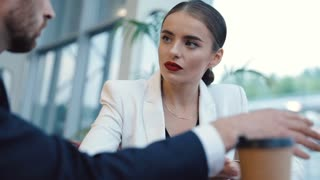 Professional Businesswoman and Businessman using Laptop during Meeting and looking at Monitor. Classical Dressed People Having Conversation at the Break in Business Building. Business Partnerships.