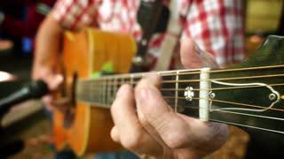 4K Playing Guitar Detail Closeup