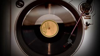 A bird's-eye view of a spinning record.