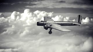 A Boeing YB-9 bomber travels above the clouds (simulation). Cloudscape is shot by me, and the plane is from a public domain government photograph.