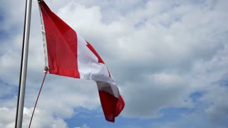 A Canadian flag flaps in the wind. Shot at 96fps.