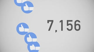 A close up shot of 100,000 likes being counted with thumbs-up icons on a social network page. Flat version.