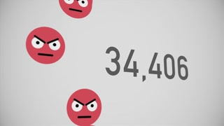 A close up shot of 100,000 unlikes being counted with angry emojis on a social network page. Perspective version.