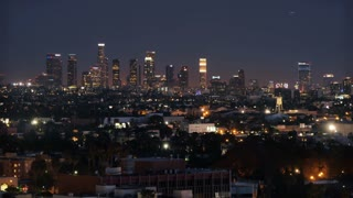 A dramatic dusk-to-night time lapse of the Los Angeles skyline.