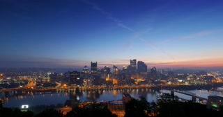 A dramatic night to day sunrise time lapse of the city of Pittsburgh, Pennsylvania.