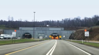 A driver's POV entering the Allegheny Mountain Tunnel on the Pennsylvania Turnpike.