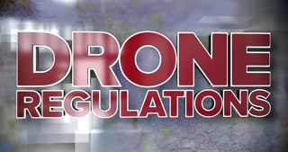 A dynamic 3D Drone Regulations title page background.