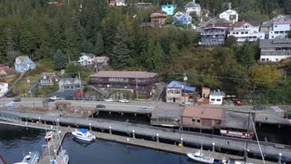 A high angle aerial view of Ketchikan, Alaska in the day.
