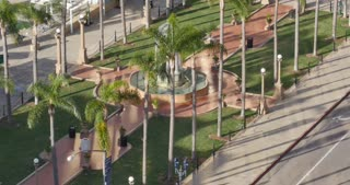 A high angle morning view of San Diego's Horton Plaza Park.