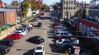 A high angle view of a busy parking lot in Shadyside near Pittsburgh, PA.