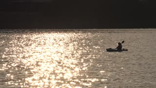 A kayaker on the Ohio River near Point State Park in Pittsburgh.