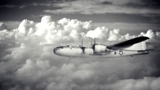 A large B-29 bomber travels above the clouds (simulation). Cloudscape is shot by me, and the plane is from a public domain government photograph.