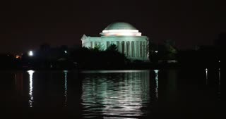A nighttime establishing shot of the Jefferson Memorial in Washington, D.C.