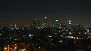 A nighttime establishing shot of the Los Angeles skyline.