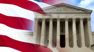 A patriotic background of a slow motion American flag composited over a shot of the Supreme Court.