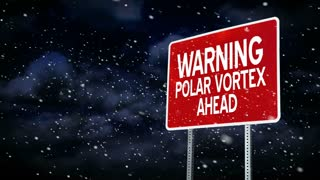 A polar vortex road sign background title plate.