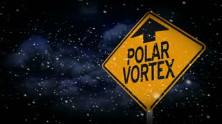 A polar vortex road sign title plate.