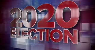 A red and blue dynamic 3D 2020 election news title page animation.