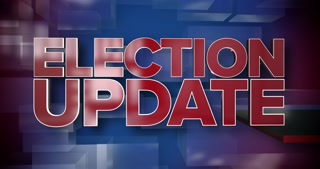 A red and blue dynamic 3D election update news title page animation.