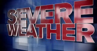 A red and blue dynamic 3D Severe Weather title page animation.