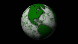 A rotating green Earth with Euros replacing the oceans. Loopable, with Alpha Matte!