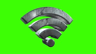 A rotating green screen wifi symbol. Loopable with optional luma matte.