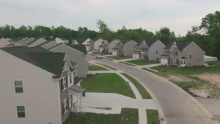 A slowly moving aerial view of a typical Ohio Neighborhood.