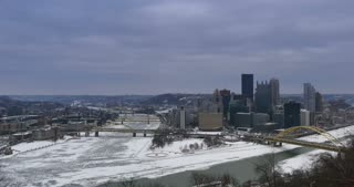 A time lapse view of downtown Pittsburgh, PA in the winter.